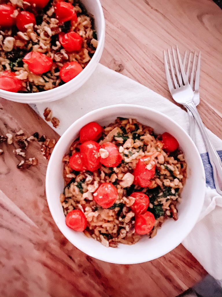 Risotto with Roasted Tomatoes and Kale - Gluten Free and Vegetarian
