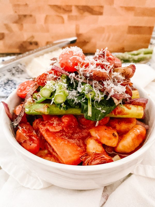 Vegetable Gnocchi with Roasted Balsamic Tomatoes - Gluten Free (Vegan option)