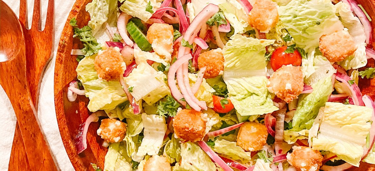 Greek Salad with Crispy Feta Croutons (Veg)