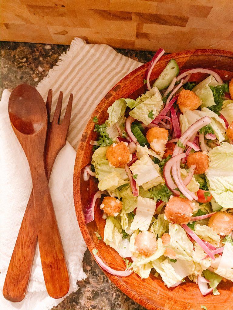 Greek Salad with Crispy Feta Croutons (Gluten Free & Vegetarian)