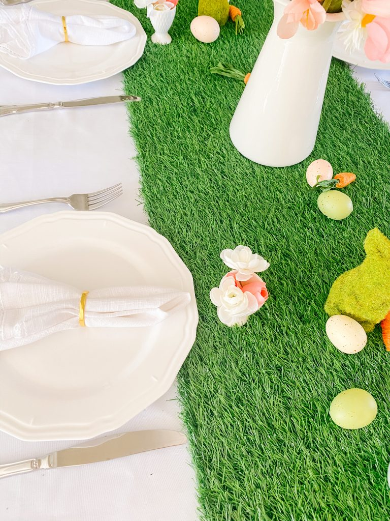 White Tablecloth and Faux Grass Runner