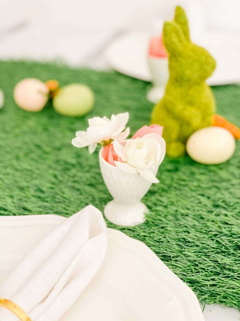 White Egg Holder with Faux Spring Flowers