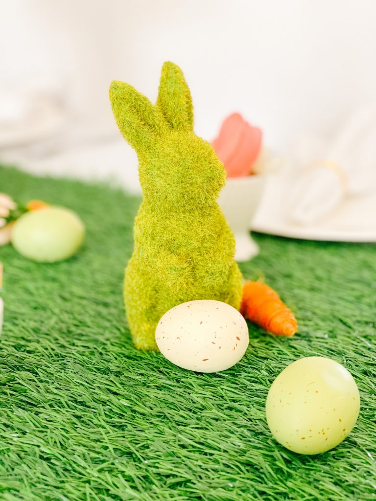 Faux Grass Bunny Figurine, Decor Carrots and Pastel Easter eggs
