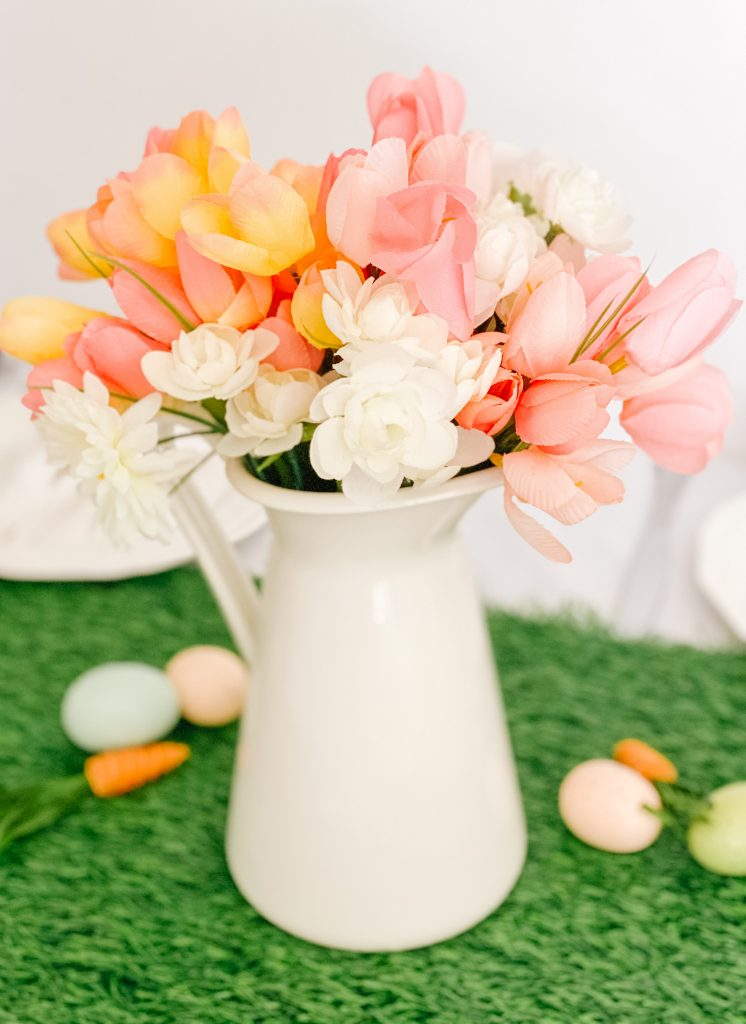 Faux Spring Flowers in a White Enamel Pitcher