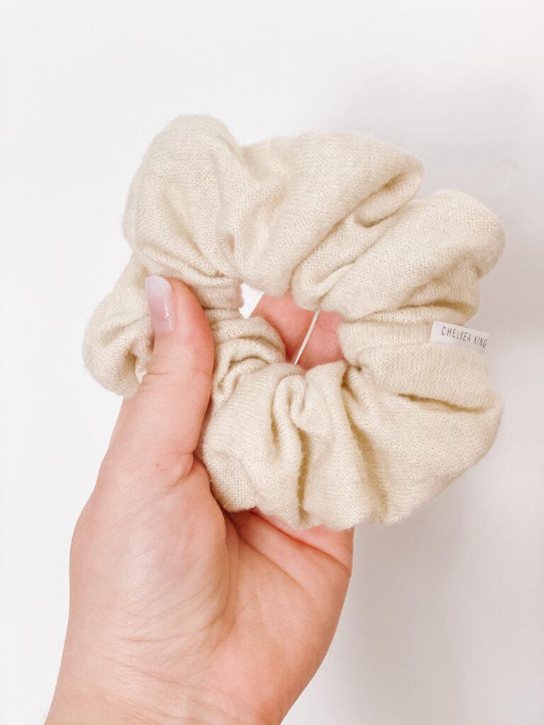 Chelsea King Cashmere Cream Scrunchie