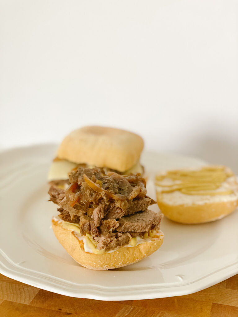 Beef and Onions on a Gluten Free Bun