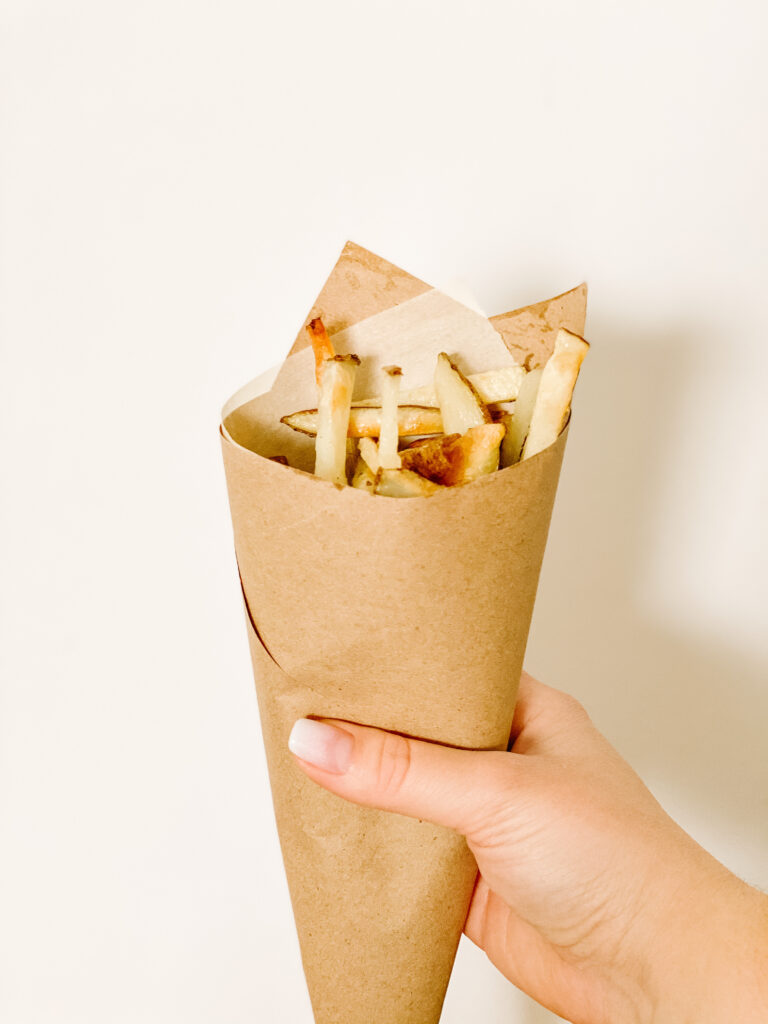 Fries in a homemade cone
